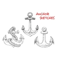 Sketches of ancient marine anchors with rope vector image vector image