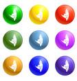 sleeping bat icons set vector image vector image