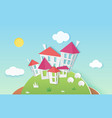 small cute houses buildings on hill made of paper vector image