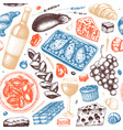 traditional french food seamless pattern vector image