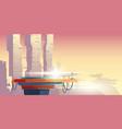 transformer on platform in futuristic city vector image