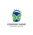 trash logo with butterfly isolated on white vector image vector image