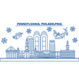 usa pennsylvania philadelphia winter city vector image vector image