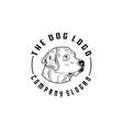vintage dog stamp label logo design vector image