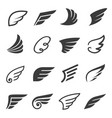 wings icon set angel or bird symbol vector image