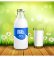 Bottle And Glass Of Milk vector image
