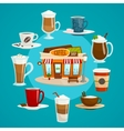 Coffee shop concept with different kinds of coffee vector image