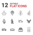 12 gray icons vector image vector image