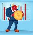 animal bull character diagram price dollar trade vector image vector image
