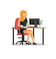 beautiful business woman working on computer vector image