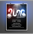 black and silver 2020 new year party flyer vector image