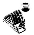 black baseball glove and ball vector image