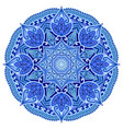 blue mandala geometric circle element on white vector image vector image