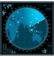 Blue radar screen with planes and world map vector image