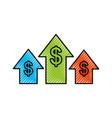business arrow growth chart money dollar vector image