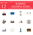 business flat icon icon set finance and managment vector image