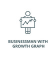 businessman with growth graph line icon vector image vector image