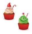Christmas cupcakes vector image