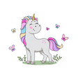 cute cartoon unicorn standing in meadow vector image