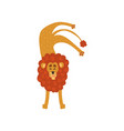cute lion cartoon character standing upside down vector image vector image