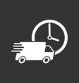 delivery 24h truck with clock 24 hours fast vector image vector image