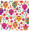 dia de los muertos seamless pattern the vector image vector image