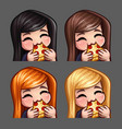 emotion icons happy female eat pizza vector image vector image