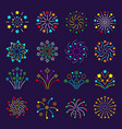 flat fireworks celebration burst stars vector image