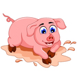funny pig cartoon with mud puddle vector image vector image