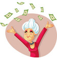 funny retired senior woman throwing with money vector image