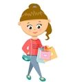 Girl Is Shoping Walks in Sweater and Jeans