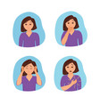 girl suffers from panic attack cartoon style vector image vector image