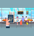 hand hold passport and ticket over people vector image vector image