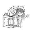 happy little girl reading books with rainbow vector image