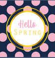 hello spring inscription handwriting label dotted vector image vector image