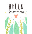 hello summer cute plants and text vector image vector image