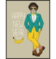 Hipster monkey hand drawn vector image
