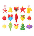 holiday christmas tree toys vector image