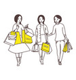 ladies go down the street with shopping bags vector image vector image