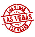 las vegas red round grunge stamp vector image vector image