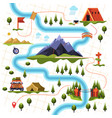 map of forest or woods and mountain hiking tourism vector image vector image