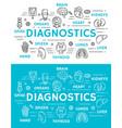 medical diagnostics banner of diagnostic clinic vector image