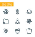 meditation icons line style set with mandala vector image