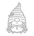 merry christmas cute female gnome sketch vector image vector image