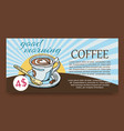 morning cup coffee graphic aroma rich vector image