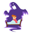 nightmare childish fear kid in bed and monster vector image