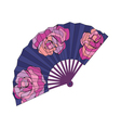 Oriental fan decorated with roses flowers vector image