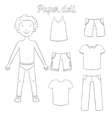 Paper doll boy and clothes coloring book vector image
