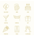 Party outline icons vector image vector image
