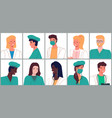 portrait doctors and nurses characters set flat vector image vector image